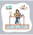 young brunette girl sitting at table and playing vector image vector image
