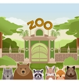 Zoo gate with forest animals vector image vector image