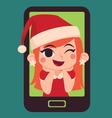 Cute Christmas Girl Inside a Phone vector image