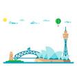 flat design sydney landmarks cityscape vector image