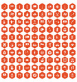 100 national flag icons hexagon orange vector image vector image