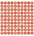 100 national flag icons hexagon orange vector image vector image