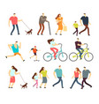 active people walking riding bike running vector image vector image