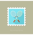 Badminton Racket flat stamp with long shadow vector image vector image