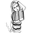 beautiful woman in striped jumper took model pose vector image vector image