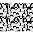 black womens mens head portraits line drawing vector image vector image