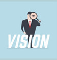 businessman with vision text vector image vector image