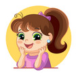 cartoon funny girl face emotion vector image