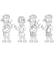 cartoon scottish with bagpipe character set vector image vector image