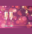 champagne glass on holiday pink background vector image