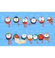 christmas birds on wires greetings card holding vector image vector image