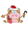 Christmas Calf Cartoon Character vector image vector image