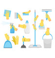 cleanning tools with hands vector image