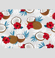 coconut fruits seamless pattern whole and piece vector image vector image