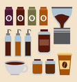 coffee set ingredients products vector image