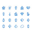 crystals flat line icons set mineral rock vector image vector image