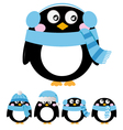 Cute penguin set isolated on white - blue vector image