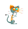 cute thoughtful robotic cat artificial vector image vector image