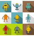 cyborg icon set flat style vector image vector image