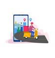 delivery man deliver food following location vector image vector image