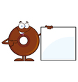 Donut Cartoon with a Whiteboard vector image vector image