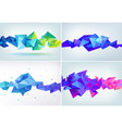 Faceted 3d crystal colorful shape banner