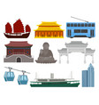 flat set of hong kong travel elements vector image