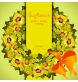 Floral sunflower and leafs circle strip border vector image