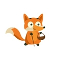 Fox Picking Berries And Mushrooms vector image