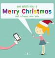 girl wearing santa hat send message merry vector image vector image