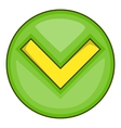 Green tick check mark icon cartoon style vector image