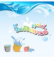happy songkran day in thai word water splash bucke vector image vector image