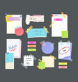 paper notes on stickers reminders notepads memo vector image
