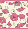 poppy seamless flower pattern summer floral vector image vector image