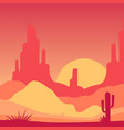 scenery of desert with rocky mountains and cactus vector image