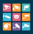security cameras white icons on colorful backdrop vector image vector image