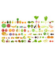 set of icons of fruits and vegetables of different vector image