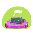 sleeping cat on a pillow dreaming about fish vector image vector image