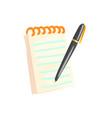 spiral notebook with pen cartoon vector image
