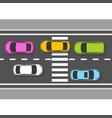top view of cars on road - traffic on highway vector image
