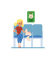 woman with a pet cat in a veterinary clinic flat vector image vector image