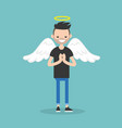 young character wearing angel costume nimbus and vector image vector image