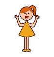 young girl with hands up avatar character vector image vector image