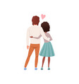 young man and woman characters standing embracing vector image vector image
