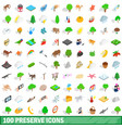 100 preserve icons set isometric 3d style vector image vector image