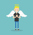 young character wearing angel costume nimbus and