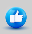 3d thumb up ball sign emoticon icon design for vector image vector image