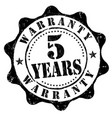 5 years warranty grunge rubber stamp vector image vector image