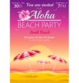 Aloha beach party background with umbrellas and vector image vector image
