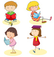 Boy and girls reading book vector image vector image